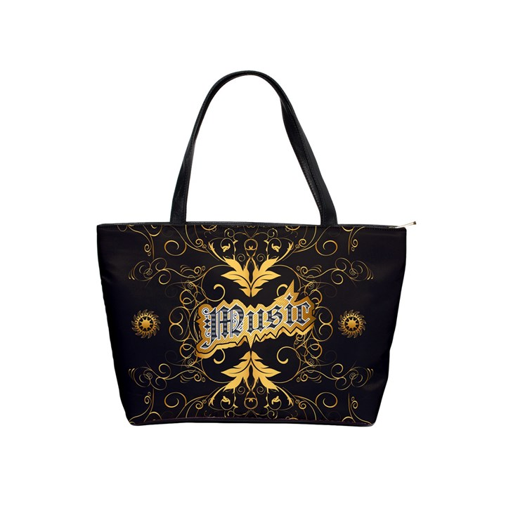 Music The Word With Wonderful Decorative Floral Elements In Gold Shoulder Handbags