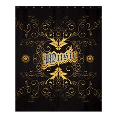 Music The Word With Wonderful Decorative Floral Elements In Gold Shower Curtain 60  x 72  (Medium)
