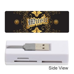 Music The Word With Wonderful Decorative Floral Elements In Gold Memory Card Reader (stick)