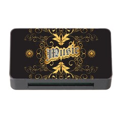 Music The Word With Wonderful Decorative Floral Elements In Gold Memory Card Reader With Cf