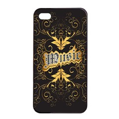 Music The Word With Wonderful Decorative Floral Elements In Gold Apple iPhone 4/4s Seamless Case (Black)