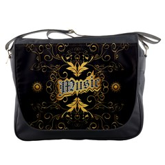 Music The Word With Wonderful Decorative Floral Elements In Gold Messenger Bags