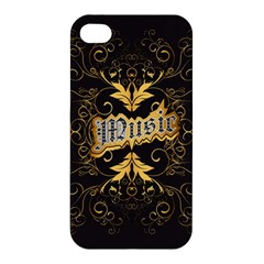 Music The Word With Wonderful Decorative Floral Elements In Gold Apple iPhone 4/4S Premium Hardshell Case