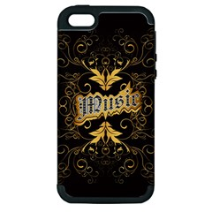 Music The Word With Wonderful Decorative Floral Elements In Gold Apple iPhone 5 Hardshell Case (PC+Silicone)