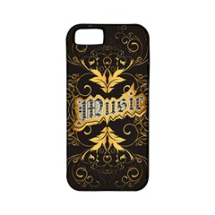 Music The Word With Wonderful Decorative Floral Elements In Gold Apple iPhone 5 Classic Hardshell Case (PC+Silicone)