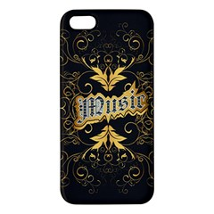 Music The Word With Wonderful Decorative Floral Elements In Gold Apple iPhone 5 Premium Hardshell Case
