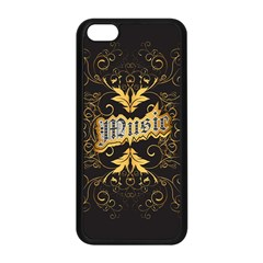 Music The Word With Wonderful Decorative Floral Elements In Gold Apple iPhone 5C Seamless Case (Black)