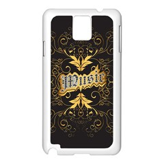 Music The Word With Wonderful Decorative Floral Elements In Gold Samsung Galaxy Note 3 N9005 Case (White)