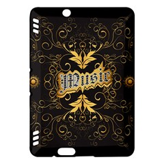 Music The Word With Wonderful Decorative Floral Elements In Gold Kindle Fire HDX Hardshell Case