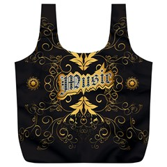 Music The Word With Wonderful Decorative Floral Elements In Gold Full Print Recycle Bags (L)