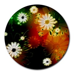 Awesome Flowers In Glowing Lights Round Mousepads