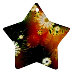 Awesome Flowers In Glowing Lights Ornament (Star)