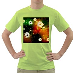 Awesome Flowers In Glowing Lights Green T-Shirt