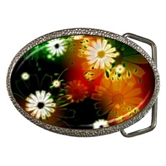 Awesome Flowers In Glowing Lights Belt Buckles