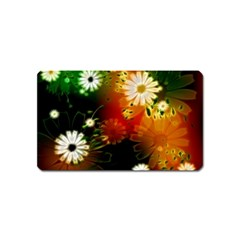 Awesome Flowers In Glowing Lights Magnet (name Card)