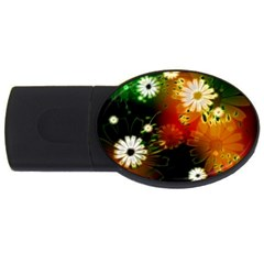 Awesome Flowers In Glowing Lights USB Flash Drive Oval (1 GB)