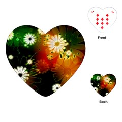 Awesome Flowers In Glowing Lights Playing Cards (heart)