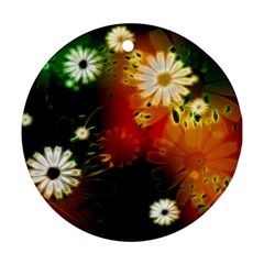 Awesome Flowers In Glowing Lights Round Ornament (Two Sides)