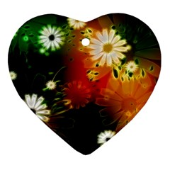 Awesome Flowers In Glowing Lights Heart Ornament (2 Sides)