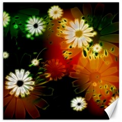 Awesome Flowers In Glowing Lights Canvas 12  X 12