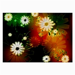 Awesome Flowers In Glowing Lights Large Glasses Cloth