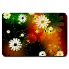 Awesome Flowers In Glowing Lights Large Doormat