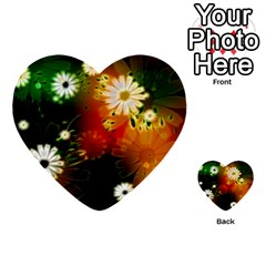 Awesome Flowers In Glowing Lights Multi Purpose Cards (heart)