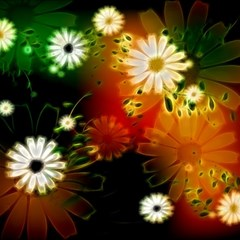 Awesome Flowers In Glowing Lights Magic Photo Cubes