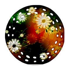 Awesome Flowers In Glowing Lights Round Filigree Ornament (2Side)