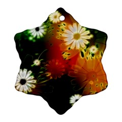 Awesome Flowers In Glowing Lights Snowflake Ornament (2-Side)