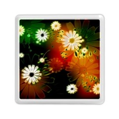 Awesome Flowers In Glowing Lights Memory Card Reader (square)