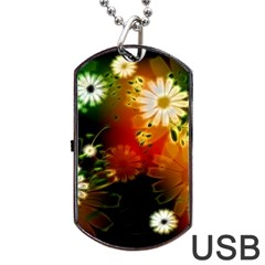 Awesome Flowers In Glowing Lights Dog Tag USB Flash (One Side)