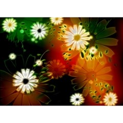 Awesome Flowers In Glowing Lights Birthday Cake 3d Greeting Card (7x5)