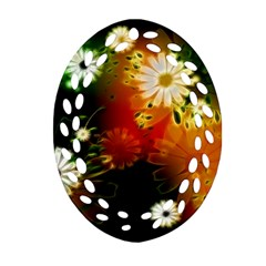 Awesome Flowers In Glowing Lights Ornament (Oval Filigree)