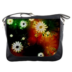 Awesome Flowers In Glowing Lights Messenger Bags