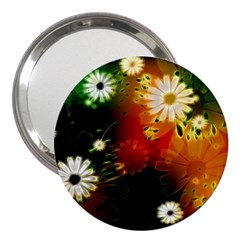 Awesome Flowers In Glowing Lights 3  Handbag Mirrors