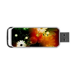 Awesome Flowers In Glowing Lights Portable USB Flash (One Side)