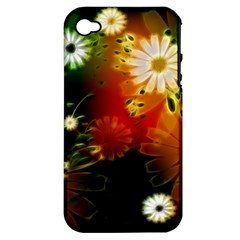 Awesome Flowers In Glowing Lights Apple iPhone 4/4S Hardshell Case (PC+Silicone)