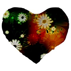 Awesome Flowers In Glowing Lights Large 19  Premium Heart Shape Cushions