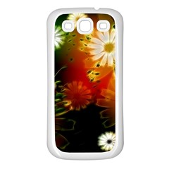 Awesome Flowers In Glowing Lights Samsung Galaxy S3 Back Case (White)