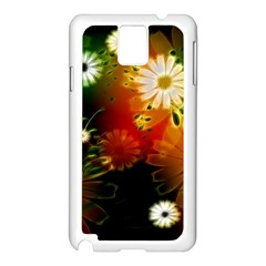 Awesome Flowers In Glowing Lights Samsung Galaxy Note 3 N9005 Case (White)