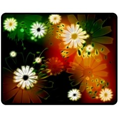 Awesome Flowers In Glowing Lights Double Sided Fleece Blanket (medium)