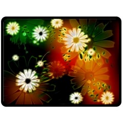Awesome Flowers In Glowing Lights Double Sided Fleece Blanket (Large)