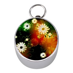 Awesome Flowers In Glowing Lights Mini Silver Compasses