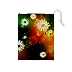 Awesome Flowers In Glowing Lights Drawstring Pouches (Medium)