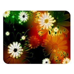 Awesome Flowers In Glowing Lights Double Sided Flano Blanket (large)