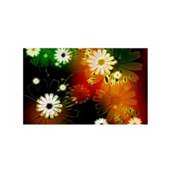 Awesome Flowers In Glowing Lights Satin Wrap