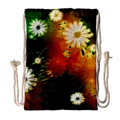 Awesome Flowers In Glowing Lights Drawstring Bag (large)