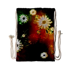 Awesome Flowers In Glowing Lights Drawstring Bag (small)