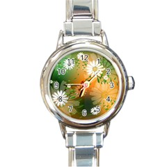Beautiful Flowers With Leaves On Soft Background Round Italian Charm Watches